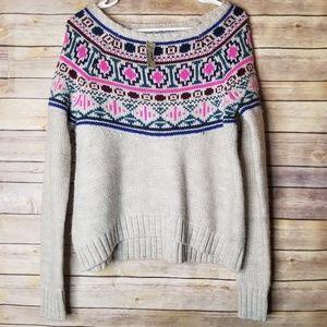 🆕 AMERICAN EAGLE Fairisle small crop sweater gray
